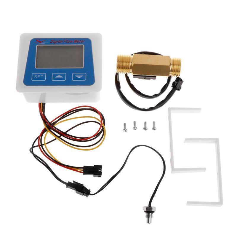 Digital LCD display Water flow sensor meter flowmeter totameter Temperature time record With G1/2