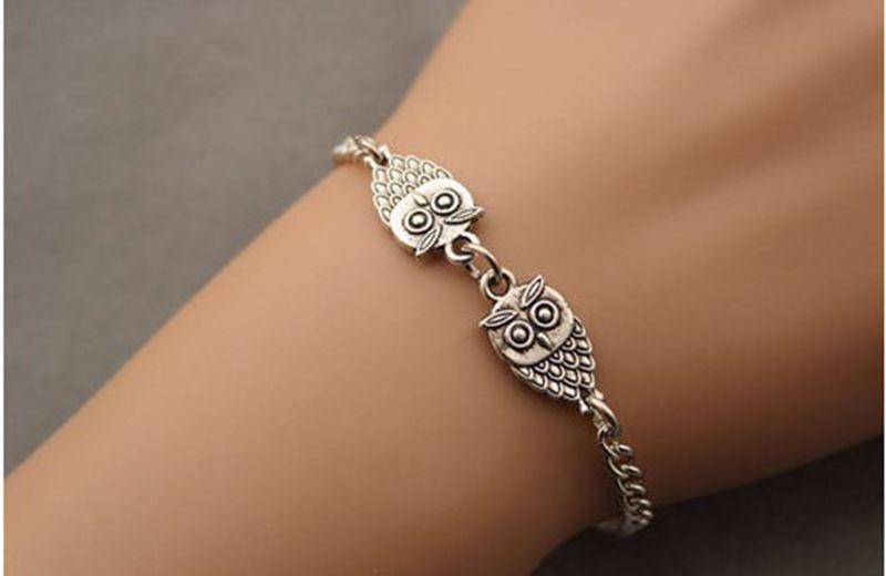 Vintage Silvers Double Owl Bracelet Chain Charms Good Luck Bracelet Bangle Jewelry Fashion For Women  Brand  DIY 12pcs Z1438
