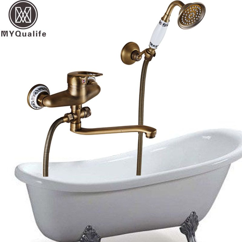 Antique Brass Long Nose Water Outlet Pipe Bathroom Faucet Bathtub Mixer Single Handle Control Bath and Shower Hot Cold Crane