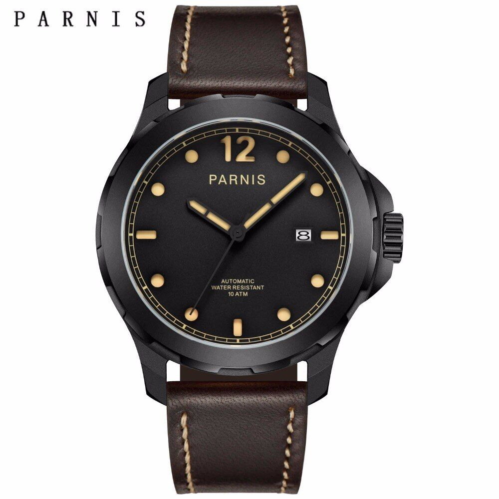 47mm Parnis Mens Mechanical Watches Military Watch Men Automatic Wrist Watch Sapphire Auto Date Brown Genuine Leather Watchband