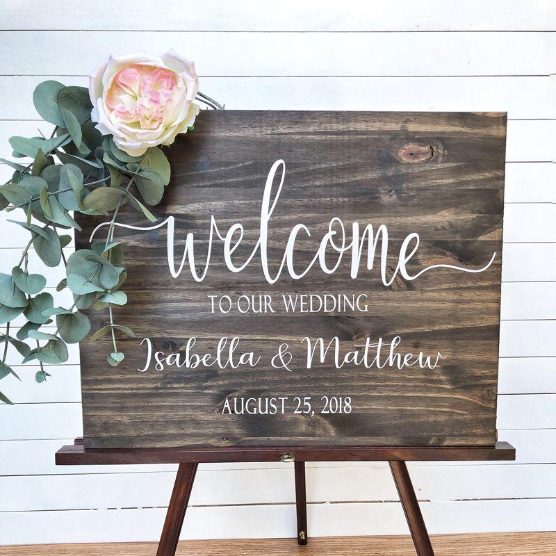Mariage bienvenue signe bois décalcomanies nom autocollant rustique mariage décoration vinyle autocollants pour conseil personnalisé décalcomanie moderne G40