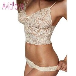 Avidlove 2018 Sexy Lingerie Bralette Set Women Sexy Corset Hollow Lace See-through Underwear Cami Lingerie Bra Set Sex Clothes