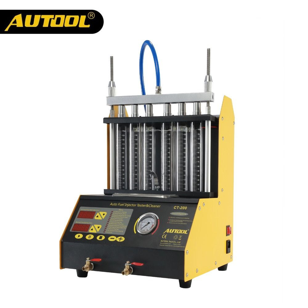 AUTOOL CT200 Ultrasonic Fuel Injector Cleaning Machine Tester Injector Cleaner Car Motorcycle 6 4 Cylinder Clean Tool PK CNC602A
