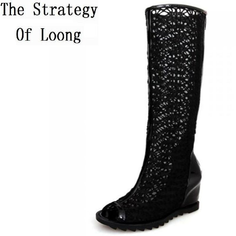 Women New Spring Summer Autumn Cut Out Long Open Toe Knee High boots Fashion Peep toe Wedge Boots Lace Elevator Shoes SXQ0602