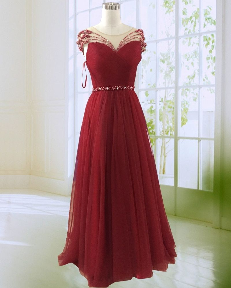 Burgundy A Line Evening Dress 2018 New Design See Through O Neck Beaded Tulle Formal Gown Dresses