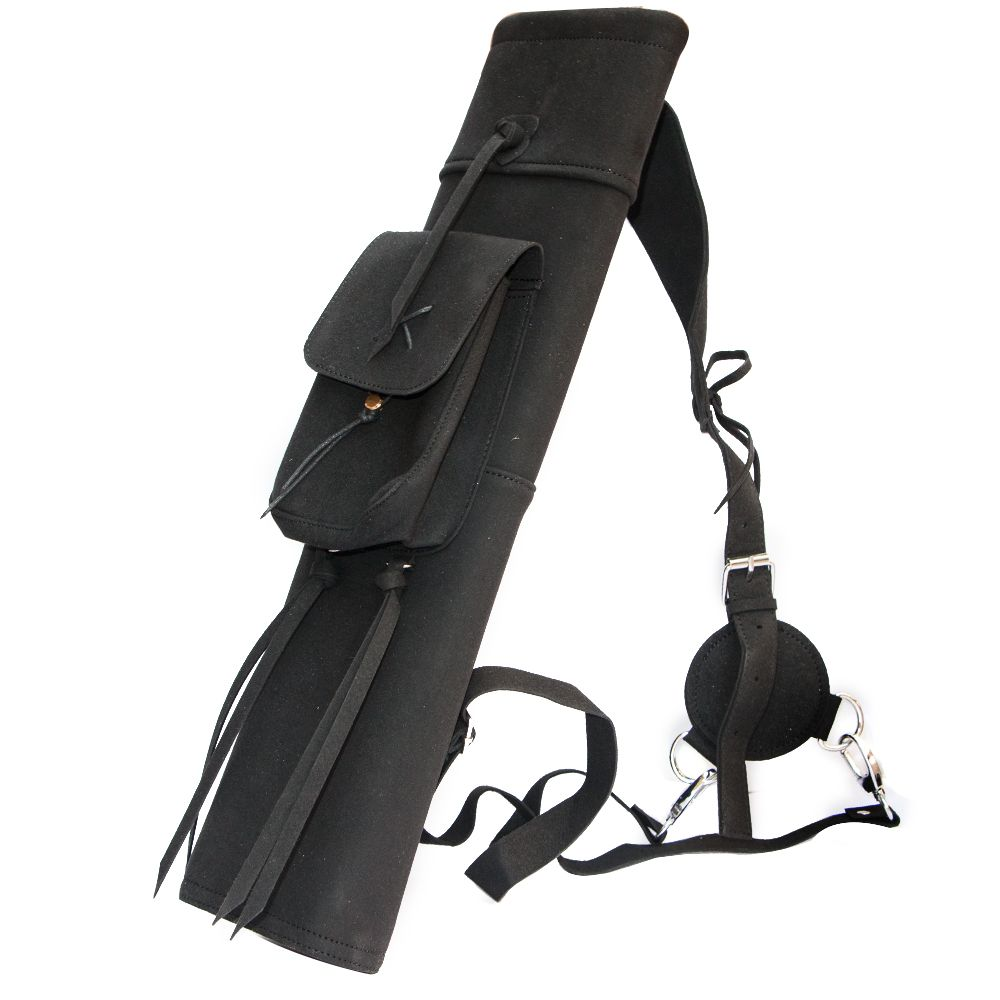 Suede leather arrow quiver bag black archery shooting hunting outdoor sports practice for bow arrows holder belt shoulder