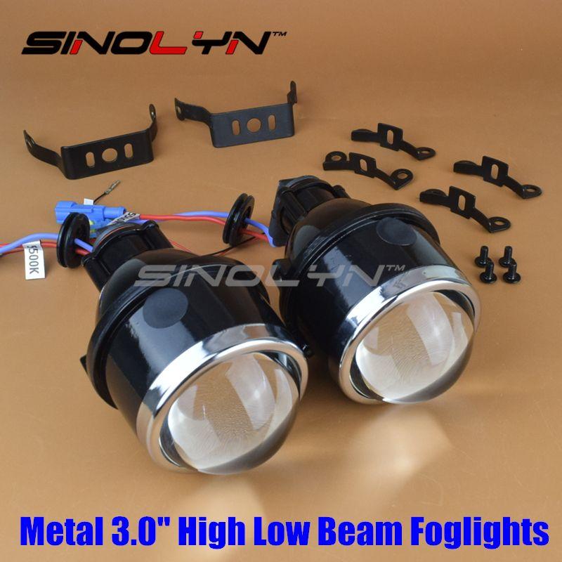 SINOLYN Car Motorcycle HID Bi xenon Fog Lights Projector Lens 3.0'' Bifocal Driving Lamps Waterproof Retrofit DIY High/Low Kit