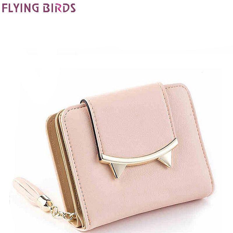 FLYING BIRDS Mignon Chat En Cuir Portefeuille Trois Volets Slim Mini Femmes petit sacs à main Femelle Porte-Monnaie Titulaire de la Carte sac Dollar prix A70fb