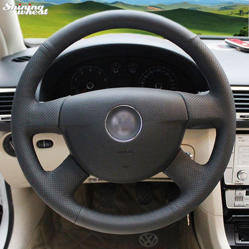 Couvre-volant en cuir noir cousu main brillant pour Volkswagen VW Passat B6
