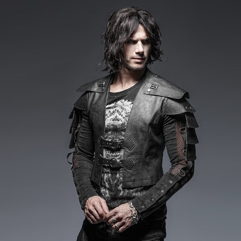Steampunk Gothic Cool Style Armor Warrior Men's <font><b>Short</b></font> Jacket Punk Vintage Long Sleeve Handsome Leather Jacket Coats