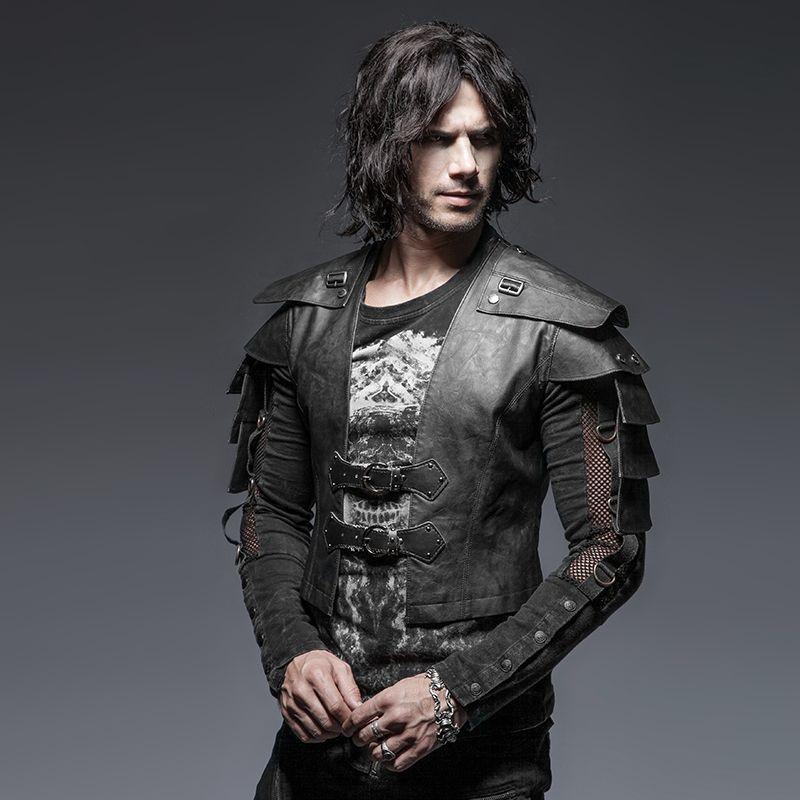 Steampunk Gothic <font><b>Cool</b></font> Style Armor Warrior Men's Short Jacket Punk Vintage Long Sleeve Handsome Leather Jacket Coats