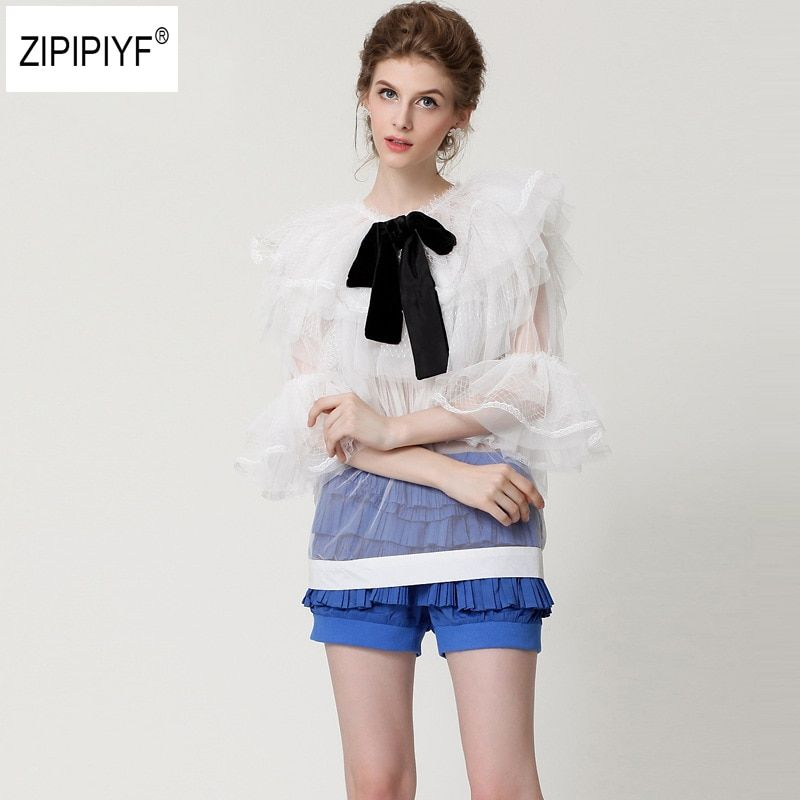 2018 Summer Long Flare Sleeve Bow Tie Blouses Women Transparent Sexy Lace Mesh Shirts Women Work Pearl Mesh Tops Bow Tops B1081