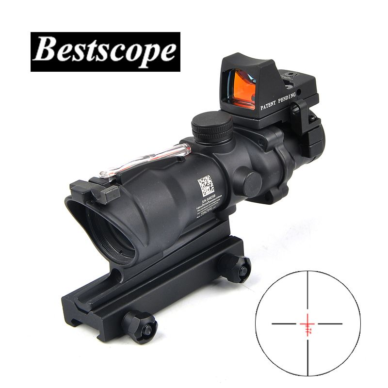 ACOG 4X32 Sight Scope Real Red Fiber Source Red Illuminated Rifle Scope w/ RMR Micro Red Dot