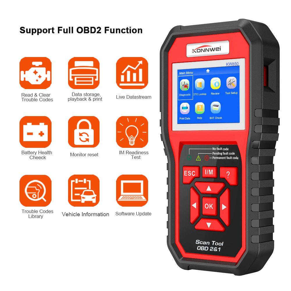 Scanner de Diagnostic automatique OBD2 ODB2 Scanner KONNWEI KW850 fonction complète de Diagnostic de voiture Scanner de voiture lecteur universel de Code moteur OBD