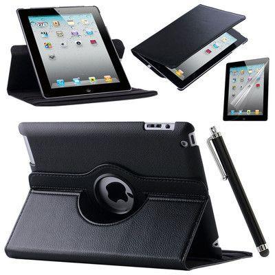 Cas de Couverture Pour Apple iPad Air 2/iPad 6 (2014) PU Cuir Flip Smart Stand 360 Rotation Cas Protecteur D'écran Film Stylus Stylo