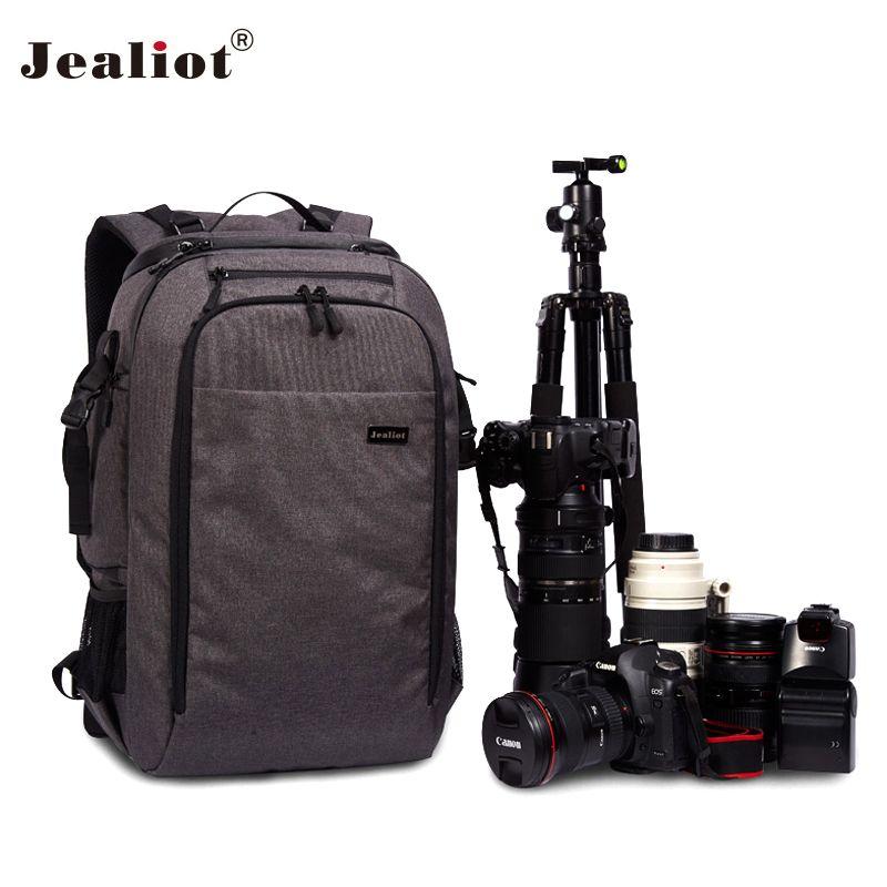 2018 Jealiot Camera Bag laptop Backpack digital camera DSLR Travel bag waterproof Video Photo case for Canon Nikon Free shipping