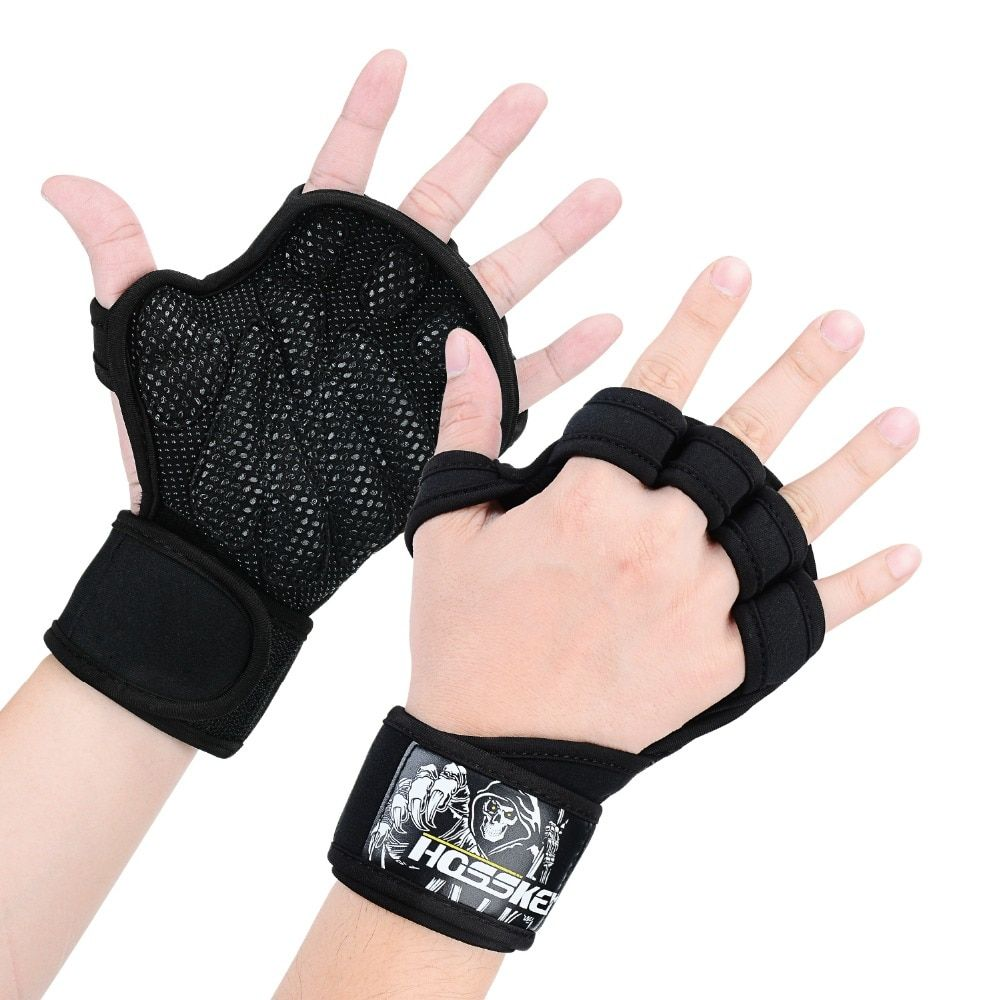 New Ventilated Weight Lifting Gloves with Built-In Wrist Wraps, Full Palm Protection & Extra Grip. Great for Pull Ups, Cross Tra