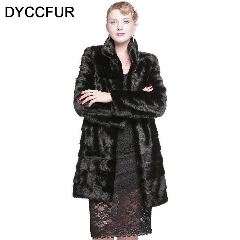 Dyccfur реального норки пальто с мехом 90 см модные длинные пальто с мехом Пояса из натуральной кожи воротник-стойка норки пальто с мехом женщин ...