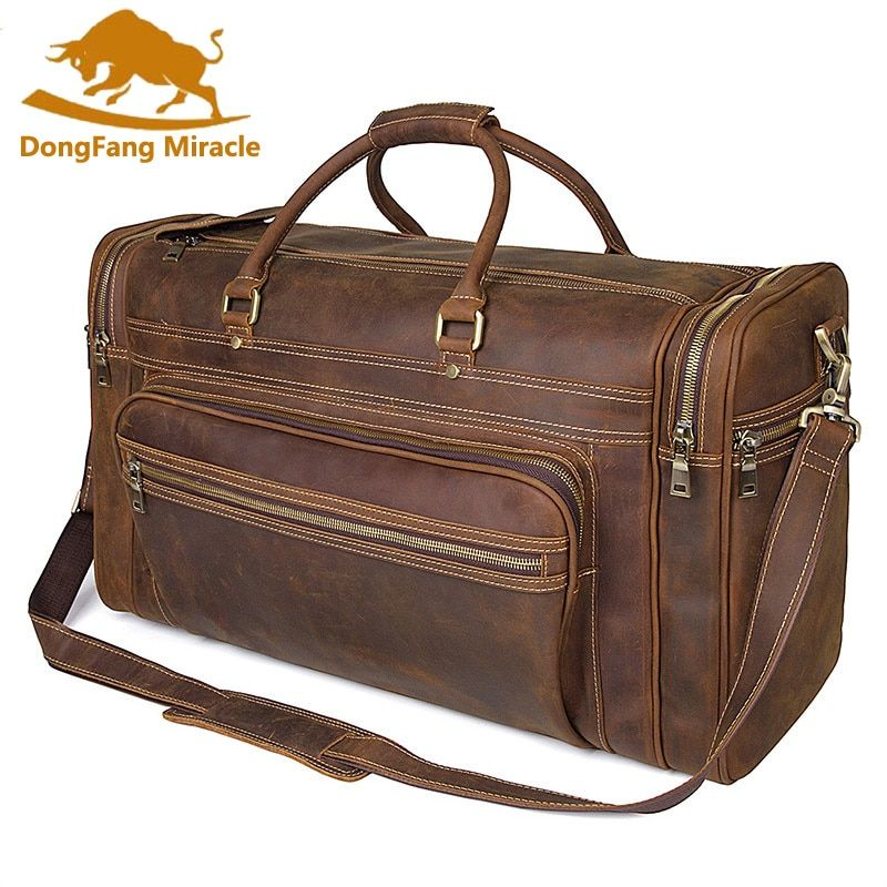 High-capacity vintage genuine leather travel bag handbags shoulder bag Men's Duffle Travel Bags high capacity travel totes