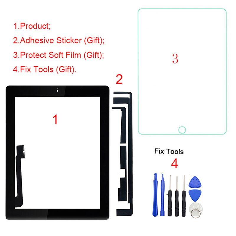 1Pcs For iPad 3 3rd Gen A1416 A1430 A1403 9.7 LCD Outer Touch Screen Digitizer Front Glass Panel Replacement