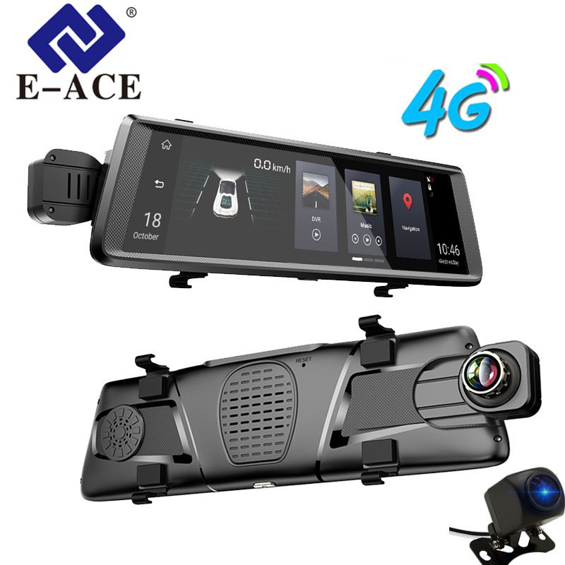 E-ACE GPS 4G Navigator Android Car DVR 10 Inch Touch ADAS Rearview Mirror Navigation Recorder Dual Lens Dash Camera Vehicle GPS