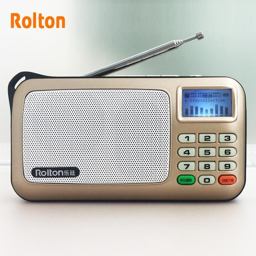 Rolton W505 lecteur MP3 Mini haut-parleurs Audio portables Radio FM avec Support d'écran LCD carte TF jouant de la musique de haute lampe de poche LED