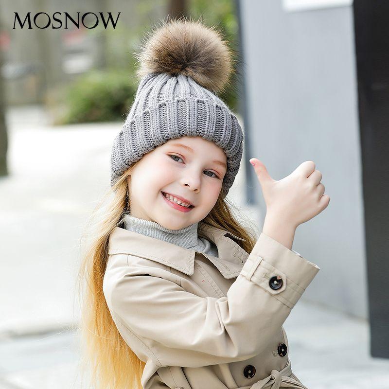 MOSNOW Sombreros de Lana Para Niñas Pompón De Piel de Alta Calidad 2017 de Invierno Nueva Marca de Moda de Los Niños Gorras de Punto Skullies Beanie # MZ751C