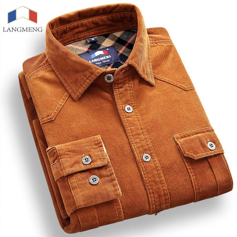 Langmeng 100% Coton Velours Côtelé Vintage robe Chemise Hommes Slim Fit Nouveau Casual Chemises À Manches Longues de Marque Vêtements Camisa Hombre