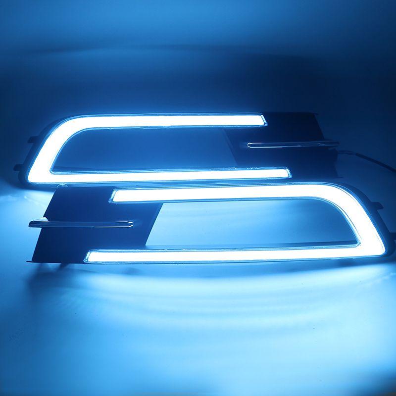 eOsuns led drl daytime running light for Volkswagen Passat b8 with yellow turn signals and blue night running light