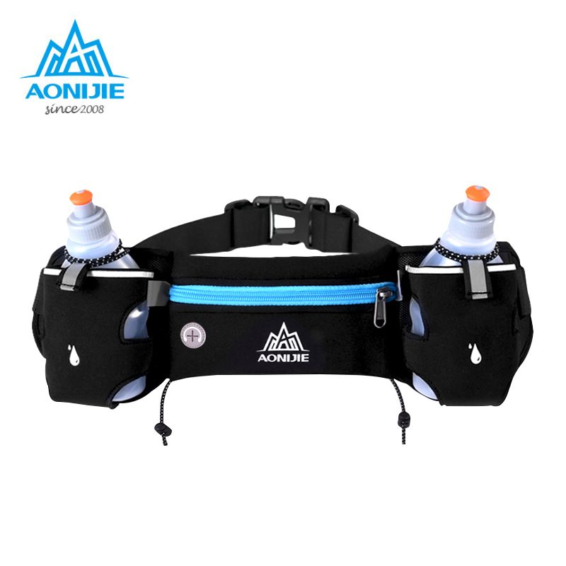 AONIJIE Sports Hydration Belt Bottle Holder Fanny Pack Marathon <font><b>Running</b></font> Reflective Adjustable Waist Belt Bags