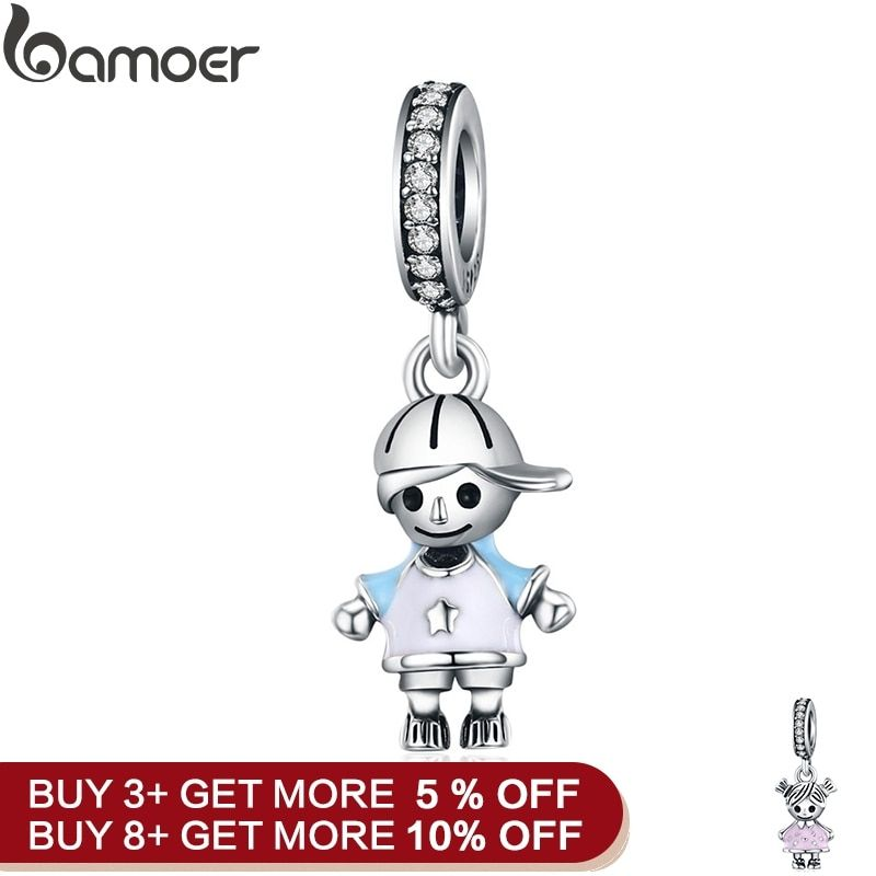 bamoer New 100% 925 Sterling Silver Couple Little Girl & Boy Pendant Charm fit Girls Charm Bracelet DIY Jewelry SCC544