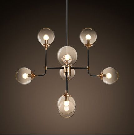 8 Lights Creative Glass Ball LED Pendant Lights Fixtures For Bar Living Dining Room Hanging Lamp DropLight Suspension Luminaire