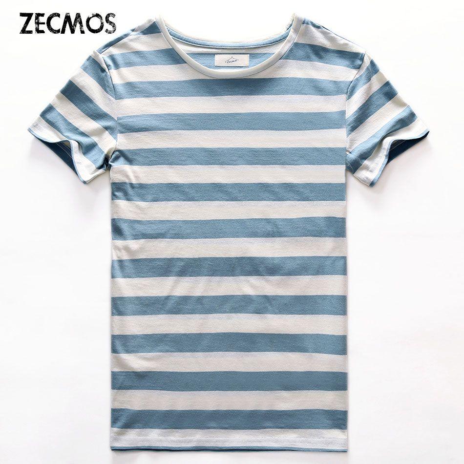 Zecmos новая полосатая футболка мужчин Slim Fit Темно-синие полосатая футболка человек с короткими рукавами модные с круглым вырезом в полоску Фу...