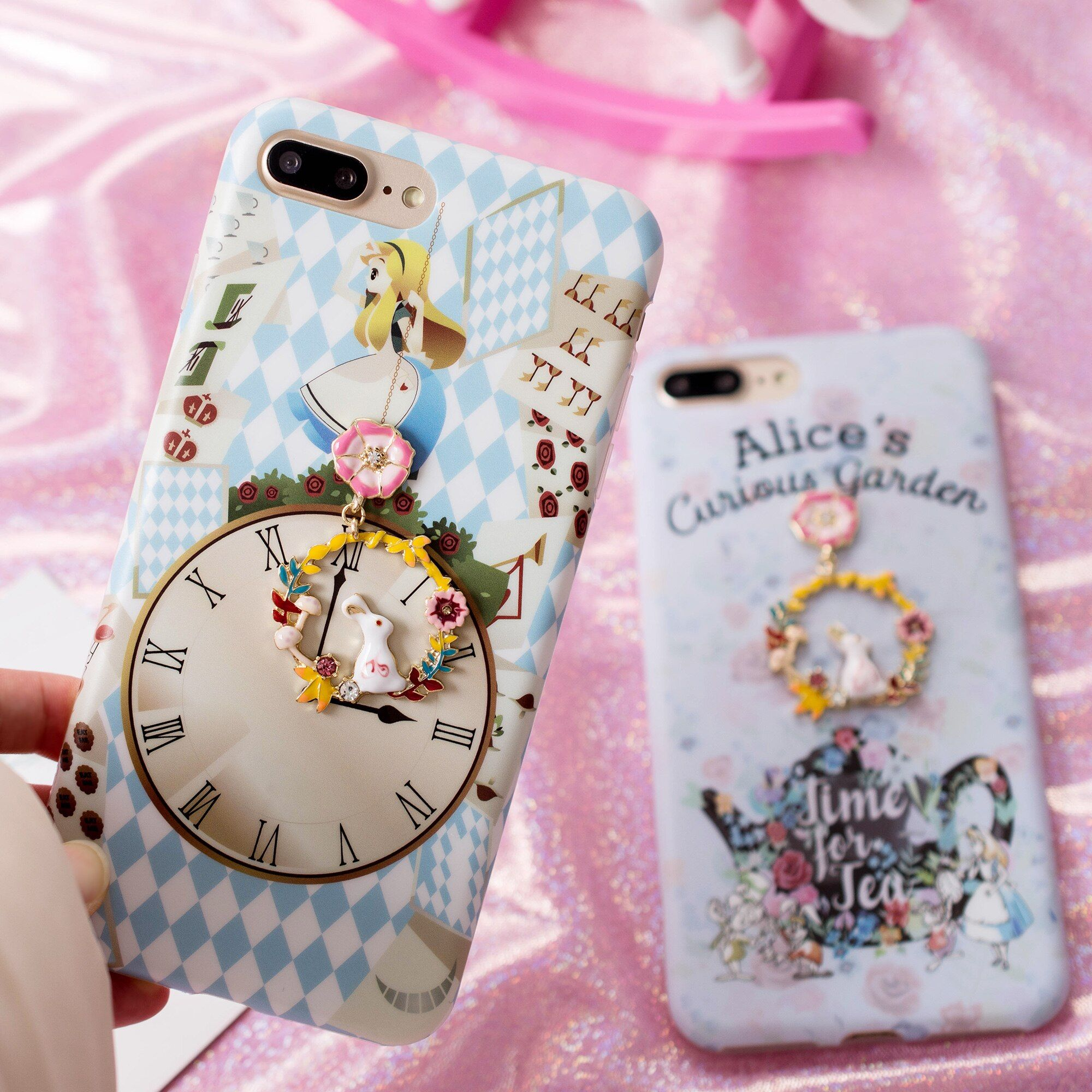 Für iPhone 7/8 plus fall für iphone 10 X/6 6 splus/7 plus Nette Alice anhänger telefonabdeckung weicher Cartoon Uhr blumen kaninchen
