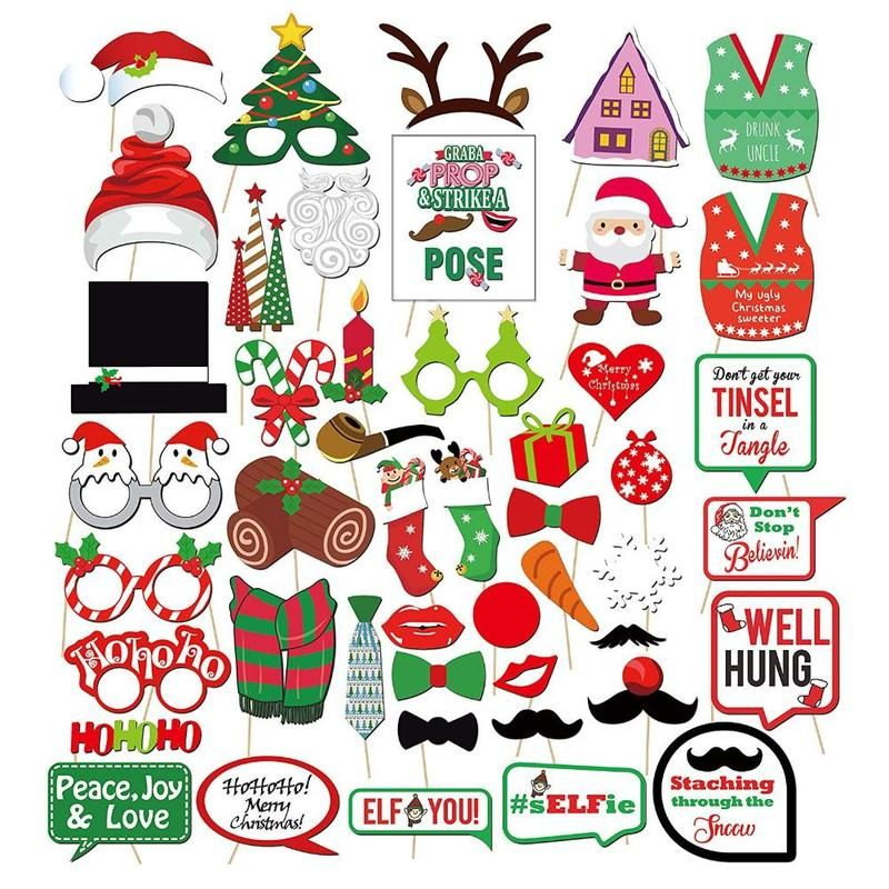 47pcs/set Fun Photo Booth Props Christmas New Year DIY Photobooth Props Christmas Wedding Event Party Supplies FES3247