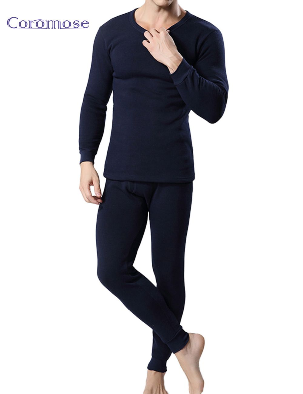 Coromose 2017 Winter Mens Warm Thermal Underwear Male Long Johns Sexy Black Thermal Underwear Sets Thick Plus Velet Long Johns