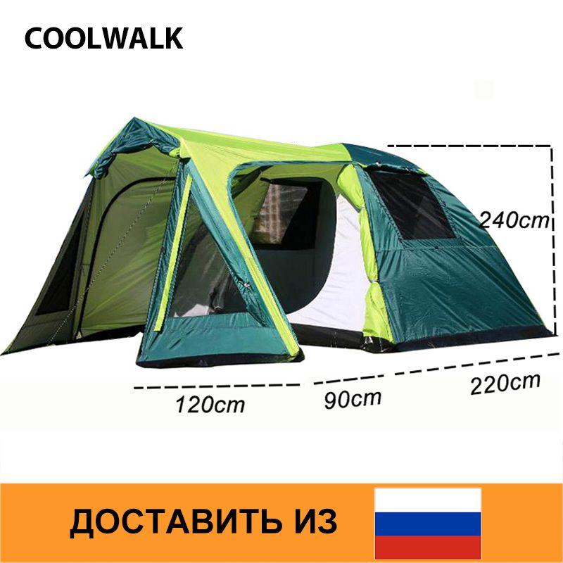 Schiff Von RU Camping Zelt Outdoor Wandern Zelt Vier Saison Zwei Tür Familie Zelte für 3-4 Personen mit Einem schlafzimmer und Einem Wohnzimmer