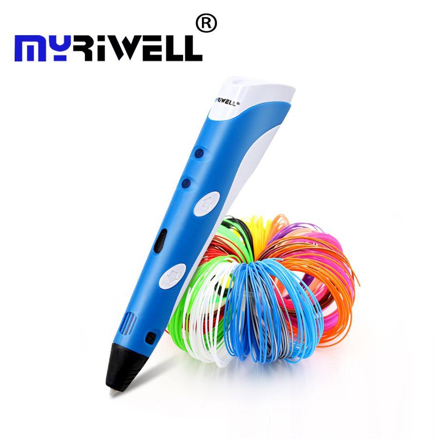 D'origine Myriwell 3D impression pen1.75mm ABS Smart 3d dessin stylos + Livraison Filament + transparent PC doux planche à dessin 5 cadeaux gratuits