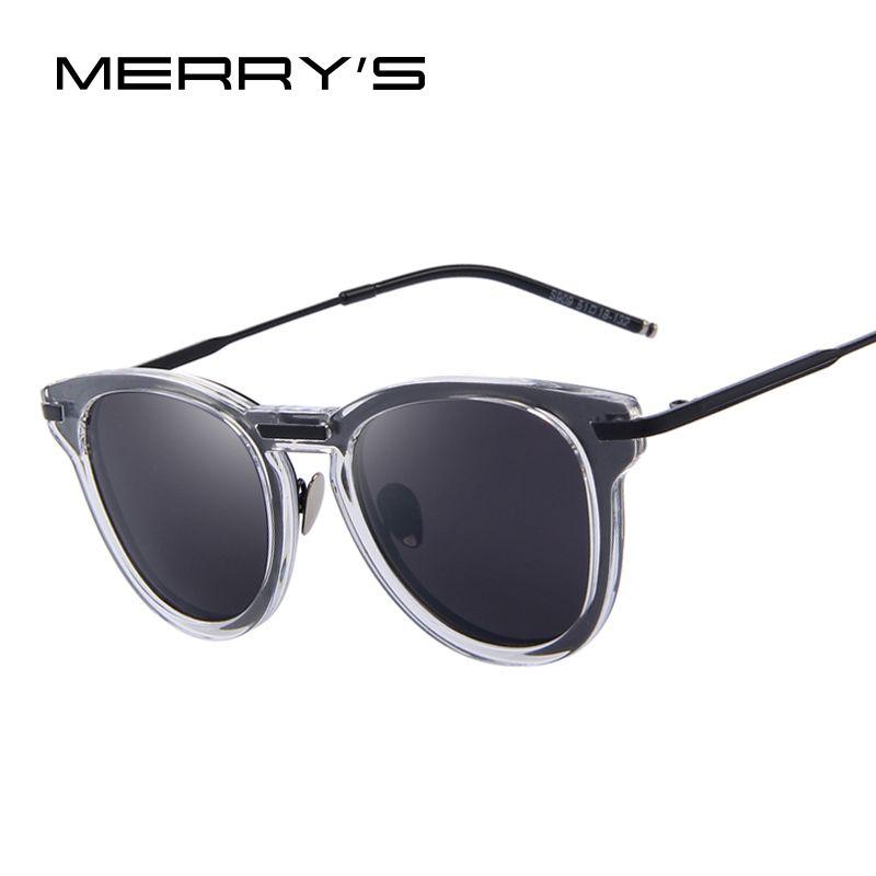 MERRY'S Fashion Women Cat eye Sunglasses Men Dazzle Frame Sun glasses Summer Style Reflected Lens UV400