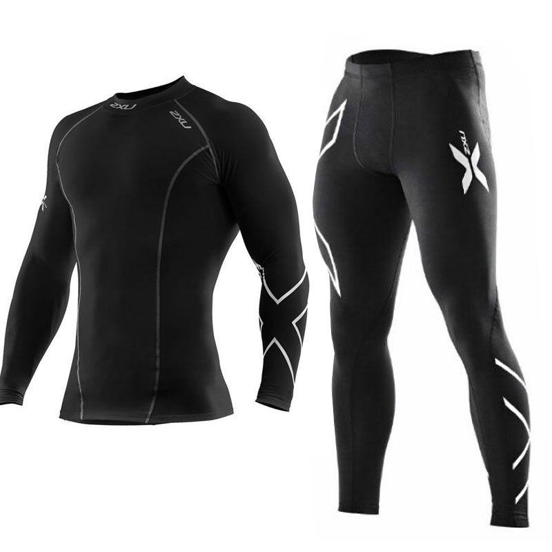 Для мужчин тренажерный зал сжатия Бодибилдинг спортивный комплект для спортивной школа Для мужчин; высокое качество узкие длинные одежда Б...