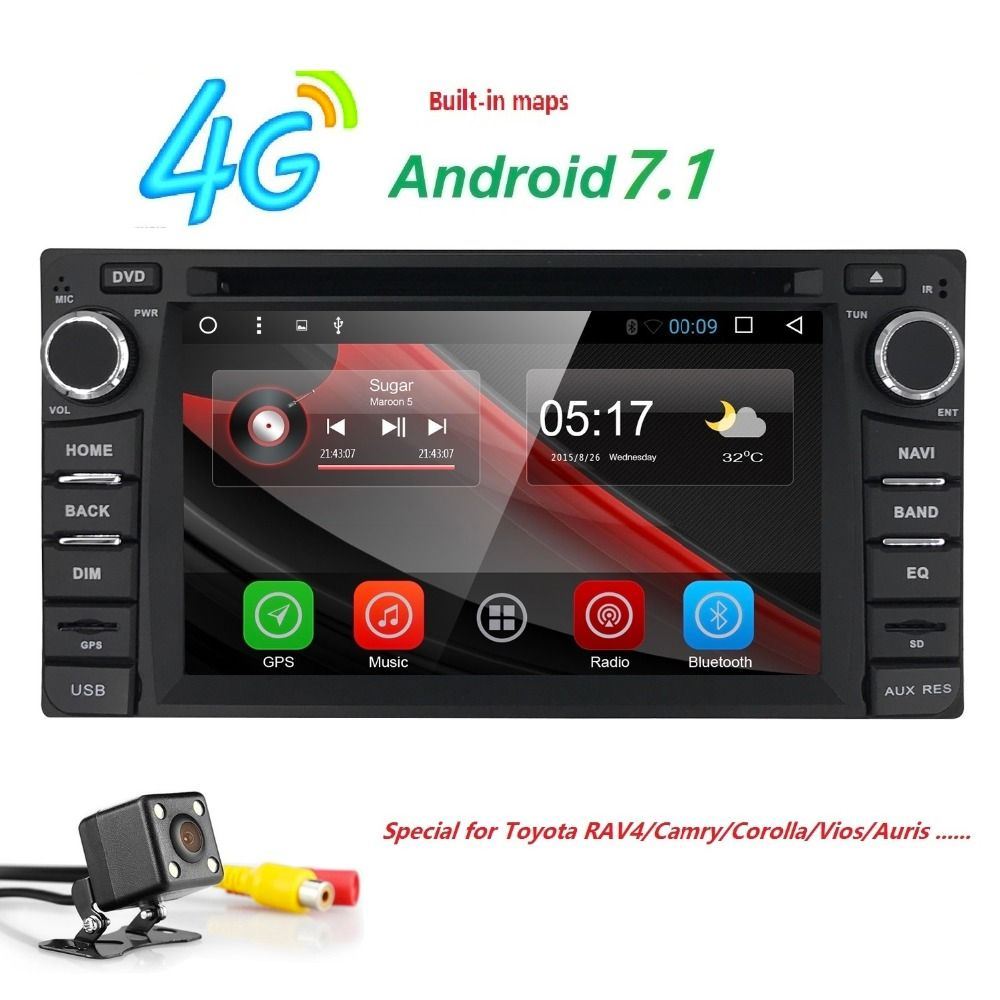 2 din Car Radio Android 7.1 Multimedia Car DVD Player For Toyota Land cruise 100 200 prado 120 150 RAV4 COROLLACamry yaris Hilux