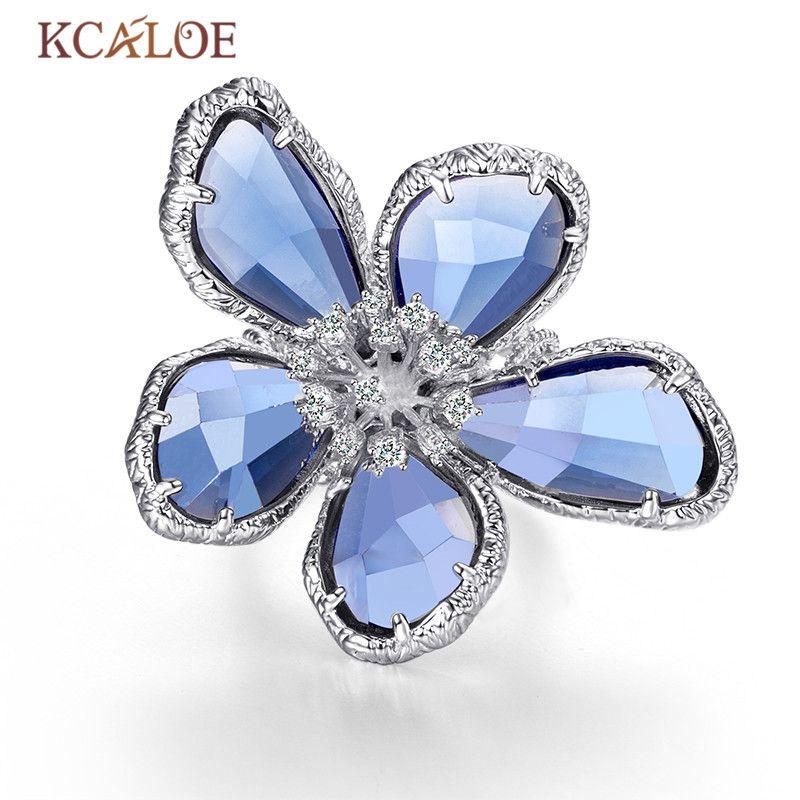 KCALOE Luxury Blue Transparent Crystal Big Flowers Rings For Women <font><b>Rhinestone</b></font> Wedding Engagement Ring Fashion Jewelry Anel