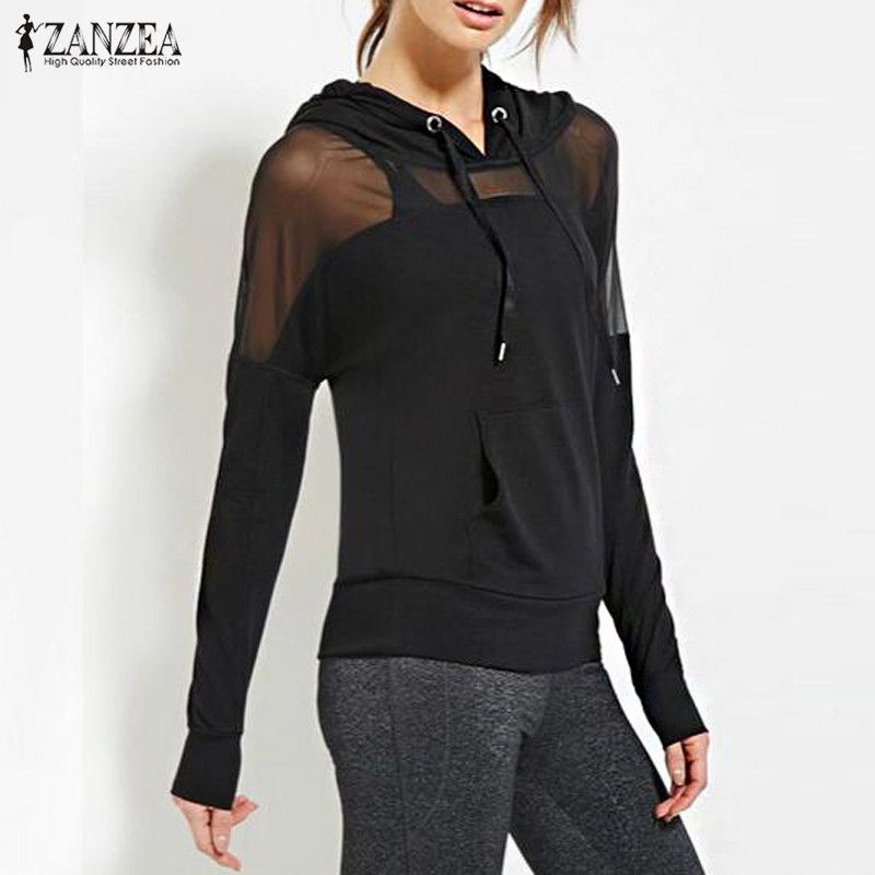 2017 Spring Autumn ZANZEA Women Hoodies Sweatshirt Sexy Mesh See Through Splicing Hooded Tops Long Sleeve Casual Pullovers