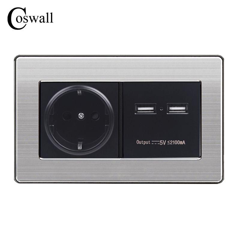 COSWALL Steckdose EU Standard Steckdose Mit Dual USB Smart Induktion Ladung Port Für Mobile 5 v 2.1A Edelstahl stahl Panel