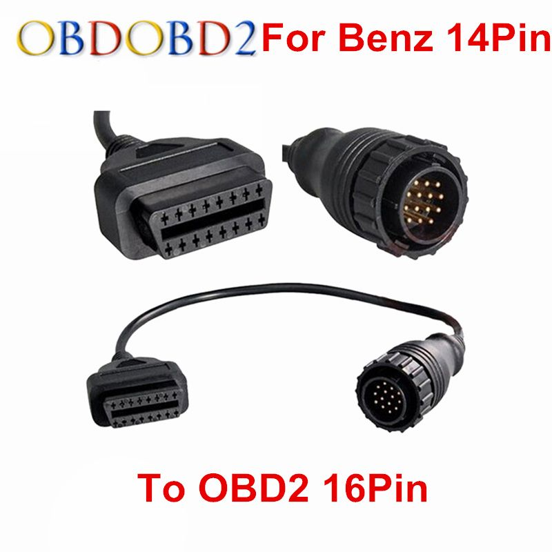 For MB 14 Pin To OBD2 16 Pin Cable Car Diagnostic Connector Sprinter For MB 14Pin To 16Pin OBD OBDII Adapter