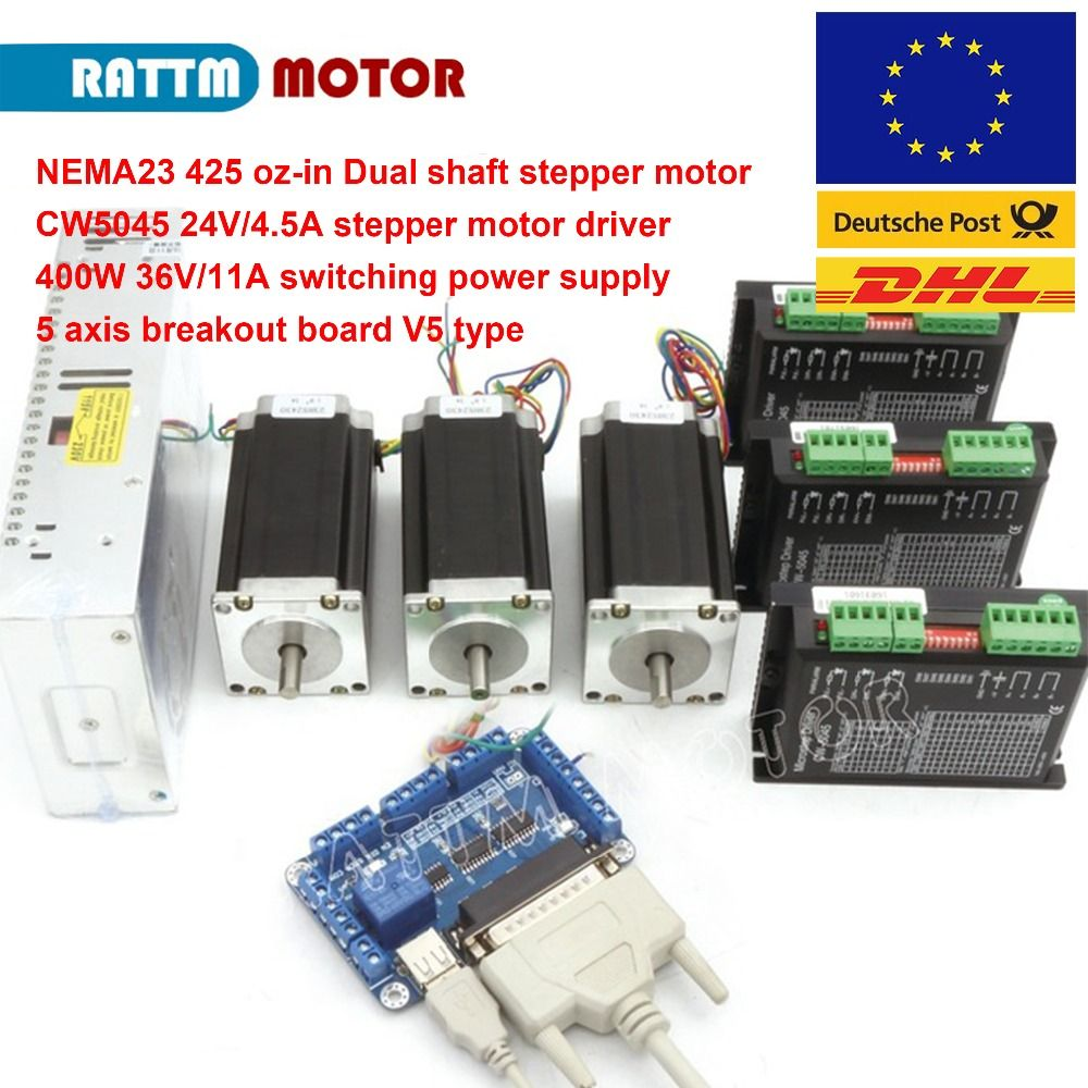Germany Ship!!! 3 axis CNC stepper kit 3pcs NEMA23 425 oz-in(Dual shaft) stepper motor & 256 microstep 4.5A driver