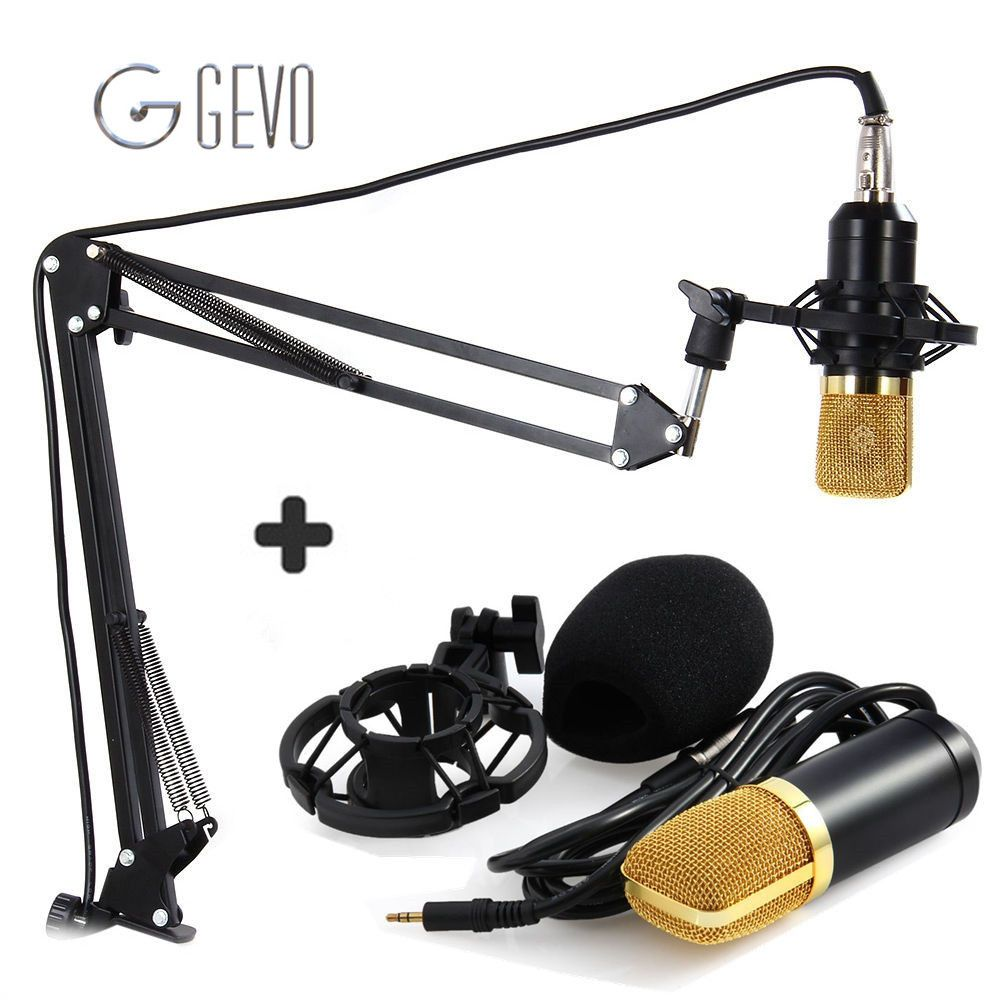 GEVO BM 700 Professional 3.5mm Wired Condenser Microphone bm-700 NB-35 Microphone Adjustable Stand For Computer Sound Recording