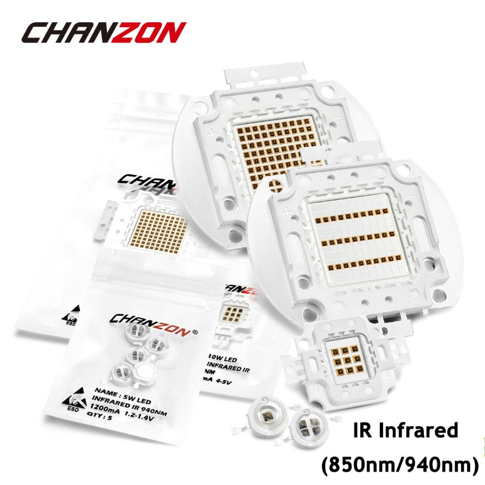 Haute puissance puce LED IR infrarouge 850nm 940nm 3 W 5 W 10 W 20 W 50 W 100 W émetteur lampe matrice 850 940 nm pour caméra de Vision nocturne