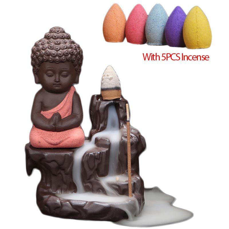 5 pcs Encens + Petit Moine Encensoir En Céramique Yixing Refoulement Bâton Brûleur D'encens Bouddha Violet Argile Poterie Base Teapet Maison décor