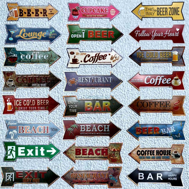 Restaurant plage bière Bar café flèche métal irrégulier étain signes publicité panneau mur Pub maison Art décor 42X10 CM U-13